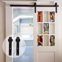 LWZH 4ft 5ft 6ft 7ft 8ft 9ft Античный стиль деревянное оборудование для раздвижной двери сарая комплект черный топ установленный шкаф аппаратные средс...