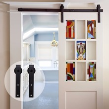 LWZH 4ft 5ft 6ft 7ft 8ft 9ft Antique Style Wood Sliding Barn Door Hardware Kit Black Top Mounted Closet for Single