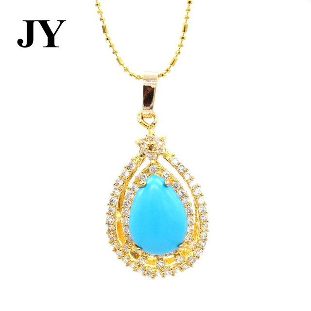 Jy gold color blue stone pendant for women elegant party jewelry jy gold color blue stone pendant for women elegant party jewelry cham cute best gift woman aloadofball Image collections