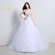 Bealegantom White Ivory Sweetheart Wedding Dresses 2017 Beaded Crystals Lace Up Bridal Gowns Vestido De Novia QA1105