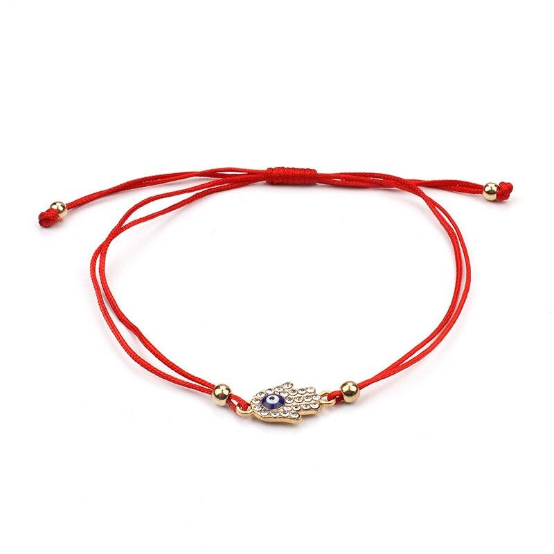 Hamsa Wish bracelet Silver Evil Eye Hamsa Friendship bracelet Gift Fatima Hand Bracelet Simple String Cord bracelet Good luck bracelet