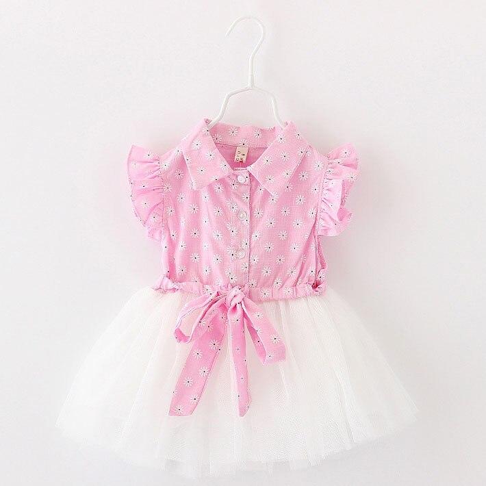 2017 Retail Summer Newborn Baby Girl Dress Fashion Tutu 1 Year Birthday Dress Floral Solid Baby Girl Clothes Vestido Infantil