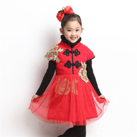 Girls Tutu Dresses Chinese Red Lace Cheongsam Kids Clothes Princess Dress Girl Children Costume Traditional Girl Dress 70C1011