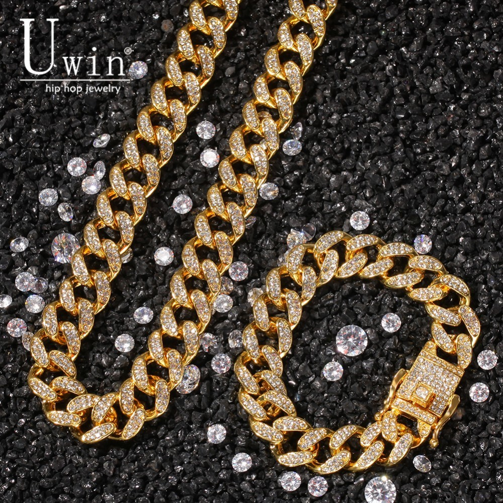 UWIN 13mm Miami Necklace Cuban Chain Necklace Bracelet Set Iced Out Rhinestone Gold Silver Hip Hop Jewelry For Gift in Jewelry Sets from Jewelry Accessories