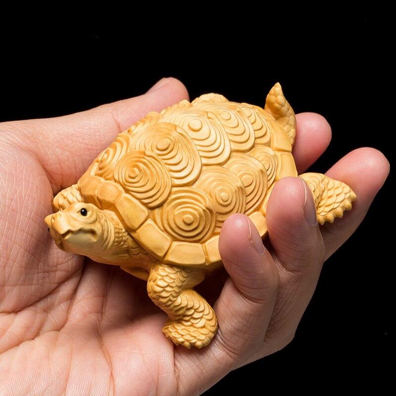 Chanceux bois sculpture argent tortue statue tortue sculpture animaux décoration de la maison artisanat figurine bois décoration miniatura