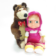 Talking Masha and Bear Set 28cm Music Cartoon Anime Figures Dolls For Girls Good Quality Christmas Birthday Gifts Russian Toys