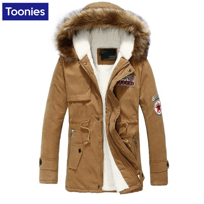Winter Warm Thicken Cotton padded Jacket Men Fur Collar Men s Parka Coat Long Sleeve Large