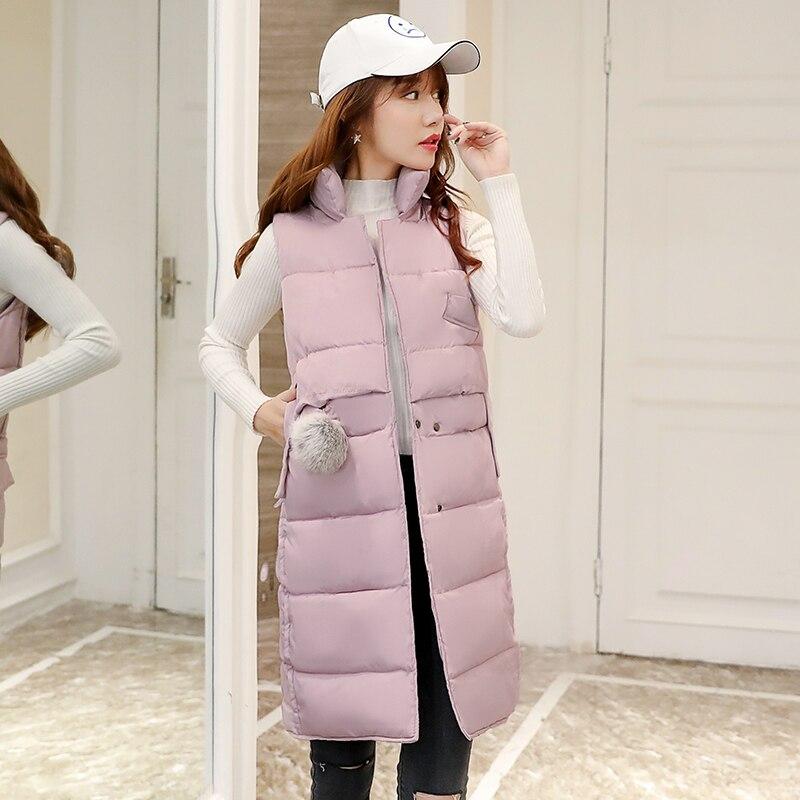 Hohe qualität 2017 winter neue Frauen Herbst Weste Westen Frauen Lange Weste Sleeveless Jacke Mit Kapuze Baumwolle Warme Weste Weibliche