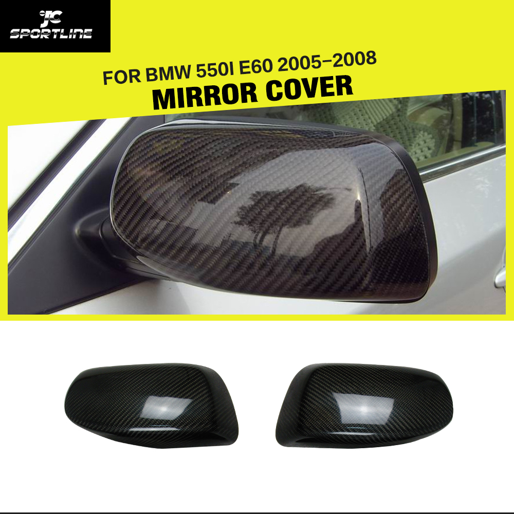 Car-styling Carbon Fiber Side Review Mirror Cover Caps For BMW 550i 5Series E60 2005-2008 carbon fiber side mirror cover caps overlay for 2005 2006 2007 2008 bmw e90 e91 3 series