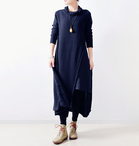 777162de765eb 2018 Vintage Cotton Linen Loose Patchwork Striped 2 Colors Midi Dress  Office Women Casual Turtleneck Robe Dresses
