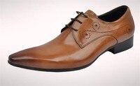 Новинка; дышащая обувь в европейском и американском стиле с острым носком в британском стиле; мужская кожаная модная мужская обувь с перфор