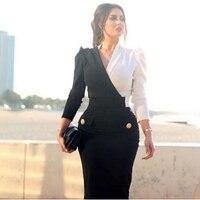 New Arrival White Black Long sleeve evening dresses 2019 V Neck Formal dress Party gown vestido longo festa Cheap evening dress