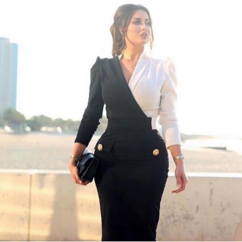 New Arrival White Black Long sleeve   evening     dresses   2019 V Neck Formal   dress   Party gown vestido longo festa Cheap   evening     dress