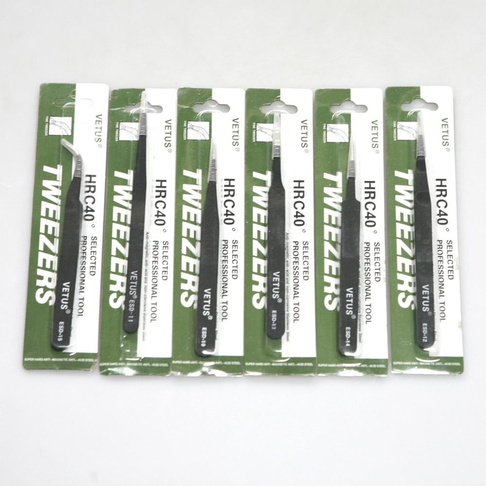 6 db nemmágneses acél finom ívelt csipesz csipeszek Antisztatikus ESD 10 11 12 13 14 15 SMD chip