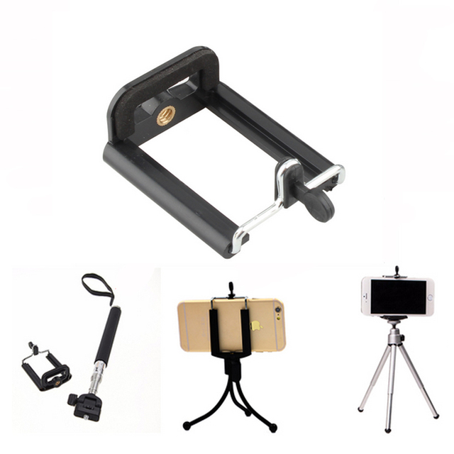 finest selection a9e27 5de37 US $1.27 11% OFF| Camera Bracket Adjustable Camera Tripod Stand Clip Holder  Monopod For iPhone 7 7Plus/6 6s For Samsung/Huawei Mount Adapter-in Mobile  ...