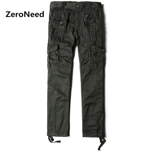 Clássico Mens Calças Cargo de Multi Bolso calças Largas Carga Hommes Casual estilo moto hommes homens calças de trabalho homens longtrousers algodão pant 98