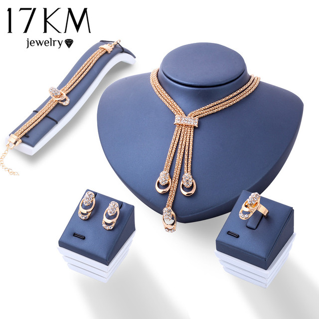 17 KM עלה זהב צבע קריסטל שרשרת עגיל צמיד טבעת סט ריינסטון חדש פשוט מסיבת תכשיטי שמלה לנשים