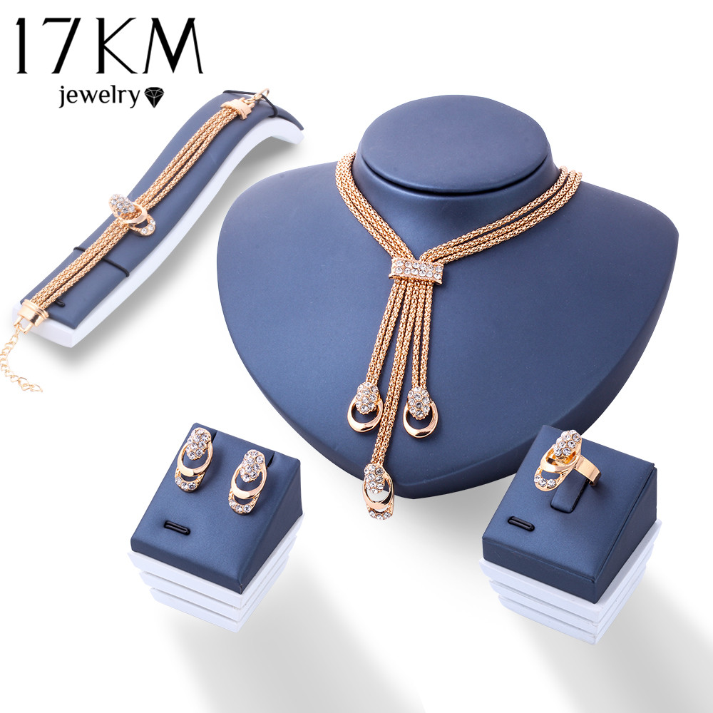 17KM Rose Gold Color Crystal Necklace orecchino Bracciale Anello Set Strass New Simple Party Dress Set di gioielli per le donne