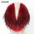 100% Real Raccoon Fur Collar 100 cm Genuíno Grande Gola De Pele Cachecol Xale para o Inverno Casacos Roupas Acessórios