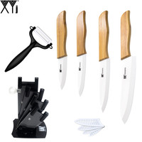 XYJ Brand3 4 5 6 Inch Ceramic Knife Bamboo Handle Ceramic Blade Cooking Tools Black Color
