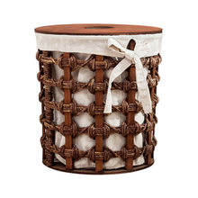 Rattan hamper laundry basket handmade straw toy storage bin with lid living room woven table
