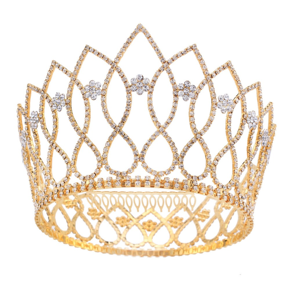 2017 New Gold&Silver Color Wedding Party Crown Dress Hair Accessories Crown Austrian Crystal Crown Princess Crown Prince HG089 svart crown svart crown abreaction lp cd