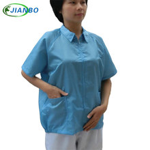 Summer Breathable Protective Overalls Clothing Anti Static Short Sleeves Jacket Food Cleanroom Workshop Dust-proof Work Clothes