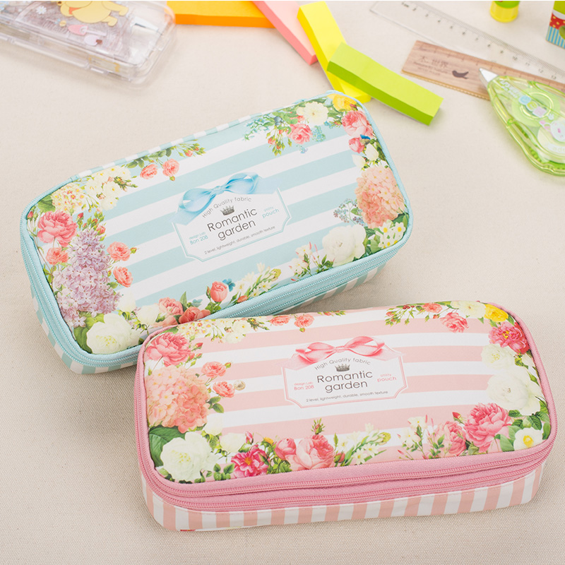 Korean Romantic Floral Garden pencil case Waterproof Large Capacity Double Layers Pen Holder Pouch Stationery School Supplies big capacity high quality canvas shark double layers pen pencil holder makeup case bag for school student with combination coded lock