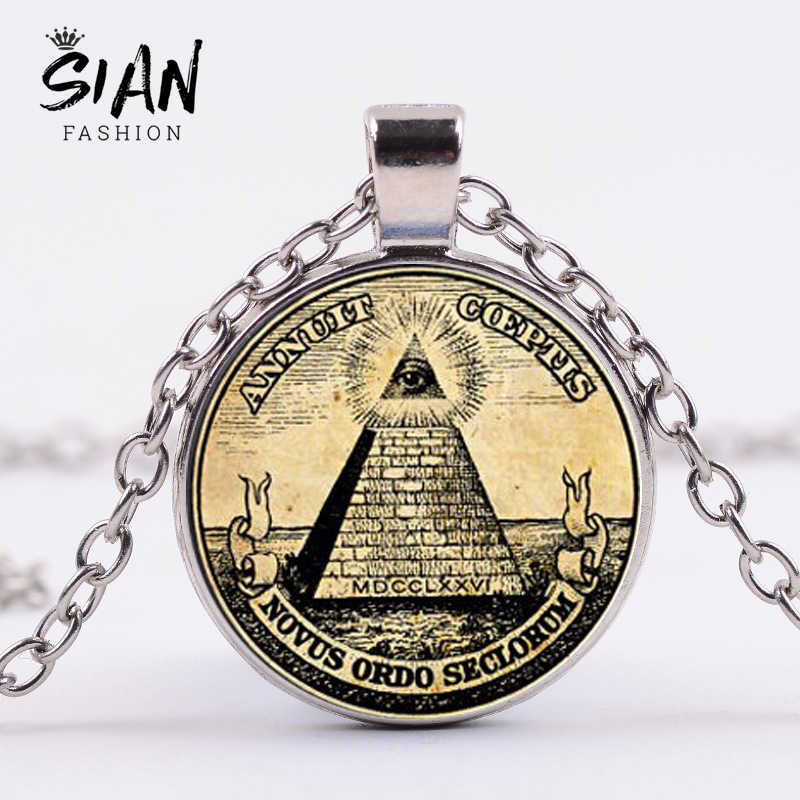 SIAN Masonic Illuminati Pyramid Eye Symbol Necklace Freemasonry Square and Compass G Mason Statement Necklace Gift for Freemason