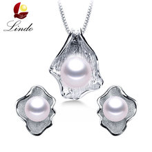 LINDO Amazing Price 925 sterling silver jewelry 100% genuine freshwater pearl jewelry sets for women 4 colors Recommend(China)