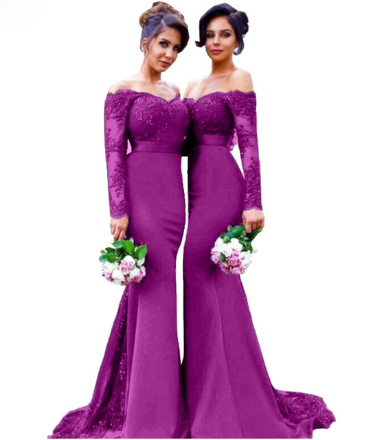 Us 159 0 Long Sleeve Magenta Bridesmaids Dresses Lace Liqued Women Wedding Party Formal Gowns Custom Made Plus Size In Bridesmaid From