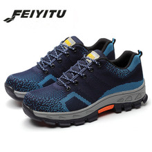feiyitu Spring Summer Work Shoes Men Fahion Mesh Breathable Steel Toe Casual Boots Labor Insurance Mens Safety