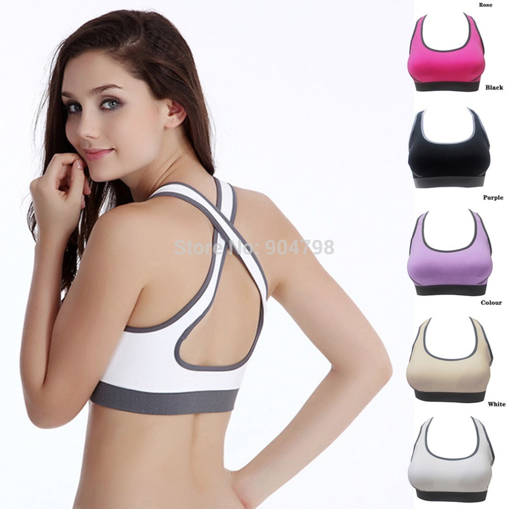 9fc1b0789d 1 PCS Women Padded Top Athletic Vest Gym Fitness Sports Bra Stretch Cotton  Seamless popular Well Sell