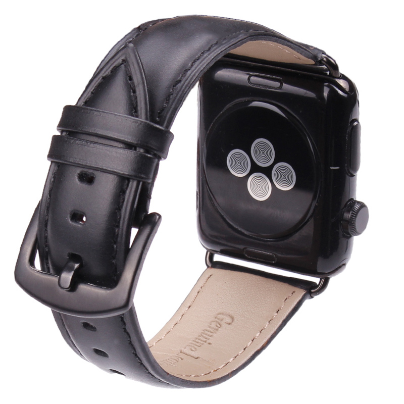 Smooth Genuine Leather Watchband For Iwatch Apple Watch 38mm 42mm Series 1 2 Wrist Band Strap Buckle Watches Accessories in Watchbands from Watches