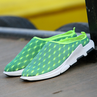 2019 Summer Breathable Mesh Men Half slippers Black Green Lazy Shoes Man Fashion Youth Casual Men Shoes Super Light Men Sneakers