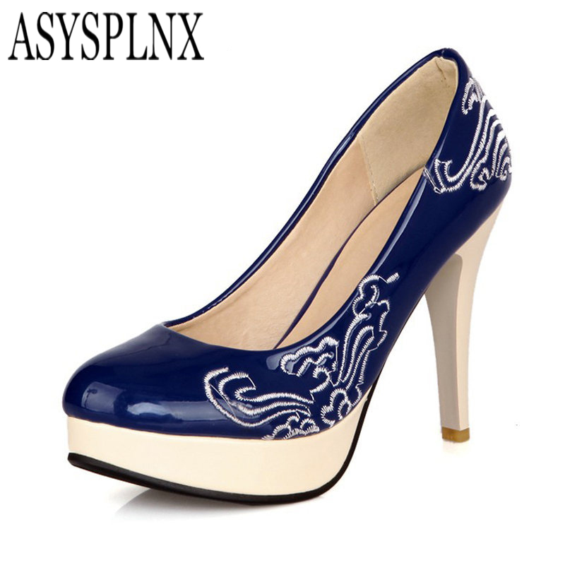ASYSPLNX Black red blue Beige thin high heel platform round toe shoes woman 2016 New women pumps summer Sexy Fashion Party women elegant black blue red suede silk bowtie round toe platform 3 inch high heel deep single shoes ladies pumps for woman