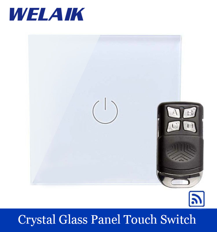 WELAIK Glass Panel Switch White Wall Switch EU remote control Touch Switch Screen Light Switch 1gang1way AC110~250V A1913W/BR01 smart home us au wall touch switch white crystal glass panel 1 gang 1 way power light wall touch switch used for led waterproof