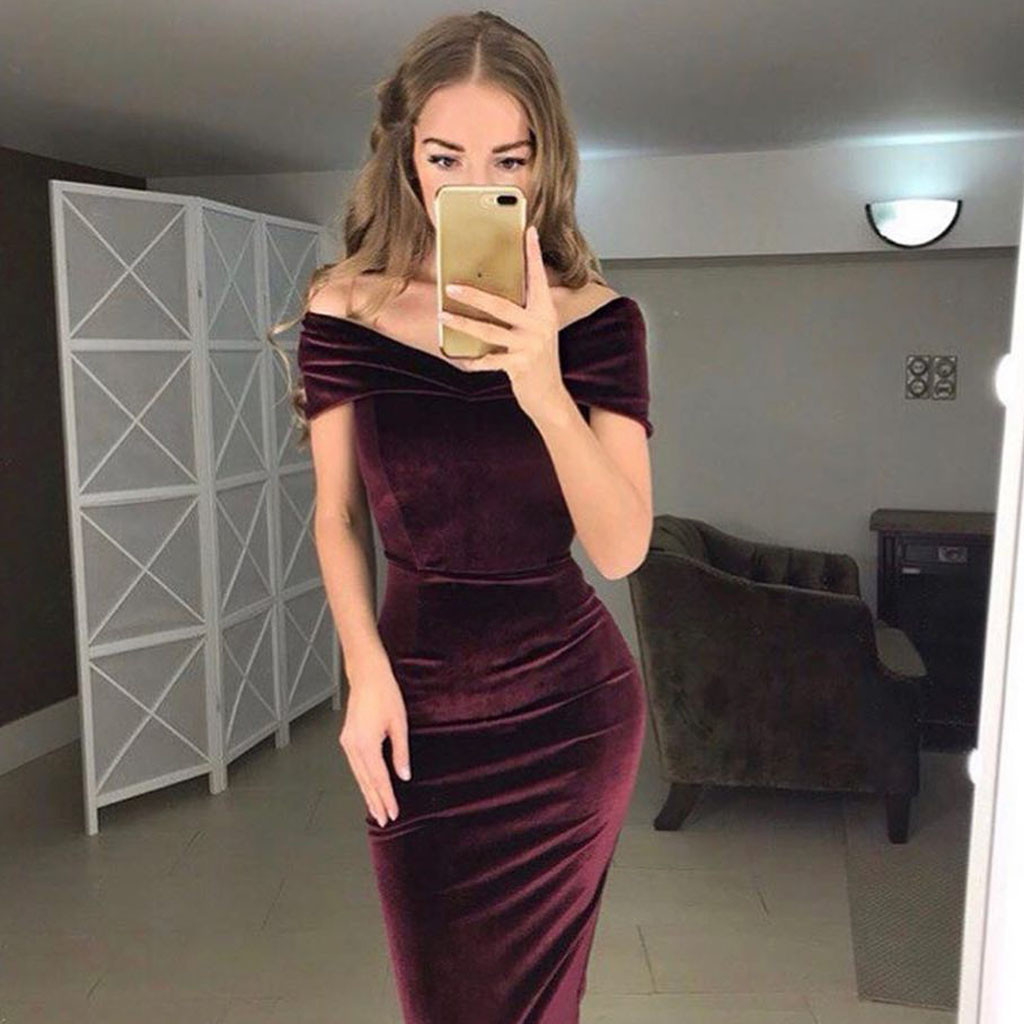 NEW Womens Summer Dress Ladies Velvet Off Shoulder Split Maxi Cocktail Strapless Solid Color Party Casual Long Dresses NEW