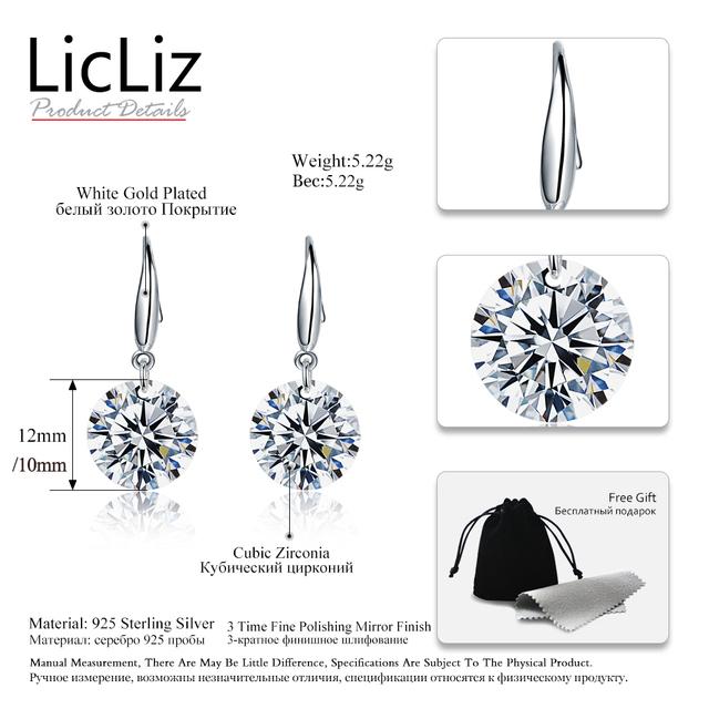 LicLiz 925 Sterling Silver Cubic Zirconia Drop Earrings For Women Fish Ear Hook Earrings Dangle CZ Stone Pendant Earring LE0344
