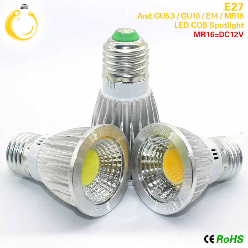 Super Bright GU10 Bulbs Light Dimmable Led Warm/Cold White 85-265V 9W 12W 15W LED GU10 COB LED lamp light E27 led Spotlight