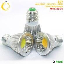 Супер яркие лампы GU10, светодиодные лампы с регулируемой яркостью, теплый/холодный белый свет, 85-265 в, 9 Вт, 12 Вт, 15 Вт, светодиодные лампы GU10, COB, светодиодные лампы E27, светодиодный прожектор