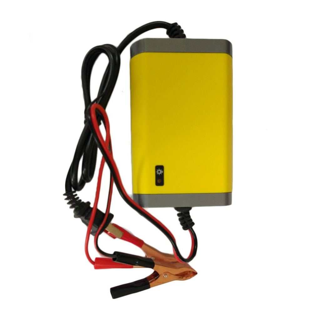 Portable US Plug Car Battery Charger 12v 2A Fully-automatic Car Motorcycle Battery Charger Adaptor Power Supply Yellow ABS