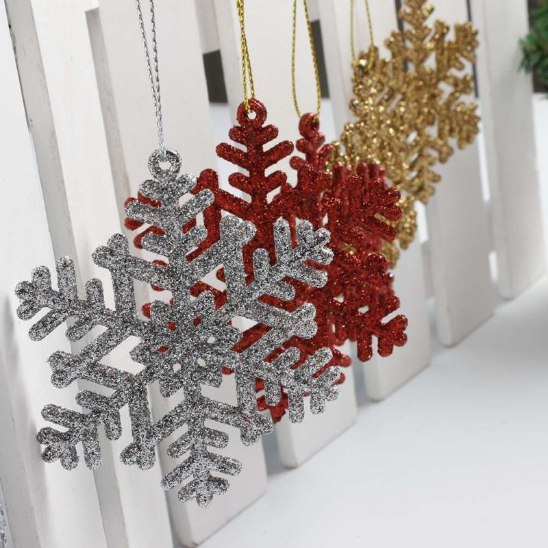 Christmas Tree Ornament Snowflakes Xmas Tree Hanging Pendant Happy New Year Party Supplies Home Wall Door Decor Kids Gift 6PCS