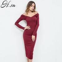 H SA Spring New Women Off Shoulder Dress Long Sleeve Slash Neck Mid Calf Casual Dresses