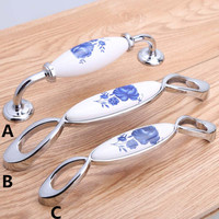 96mm 128mm White And Blue Porcelain Furniture Handles Blue Silver Cabinet Drawer Pull Knob White Blue