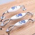 """96 mm 128 mm branco e azul de porcelana puxadores de gaveta pull botão dresser alças de cerâmica de prata 5 """""""