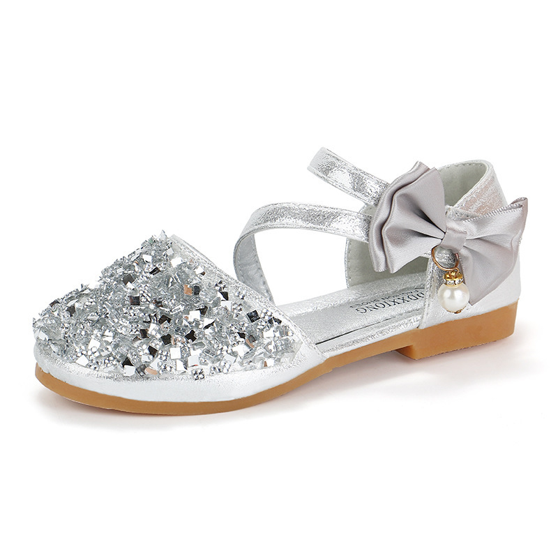 Prcincess Girls Shoes With Rhinestone Bow-knot Buckle Pearl Pendant Wedding Sweet Kids Flats Bling Children Shoes Party ShowPrcincess Girls Shoes With Rhinestone Bow-knot Buckle Pearl Pendant Wedding Sweet Kids Flats Bling Children Shoes Party Show