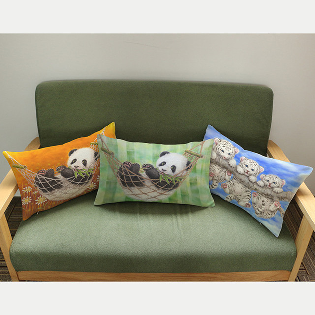Panda Chinese Animal Style Cushion Throw Pillows Cute Panda Play Swing Home  Decoration Children Room Sofa