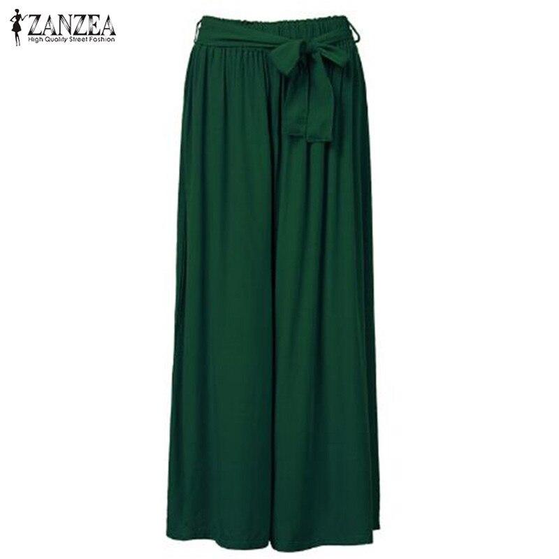 2018 Women Wide Leg Pants Casual Loose Vintage Elastic Waist Trousers Casual Cotton Oversized Solid Long Pants Plus Size 5