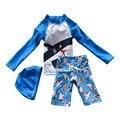 2-10 Anos de idade Menino de Verão Maiô de Duas Peças Conjunto Com chapéu de Praia Dos Desenhos Animados Calções Tronco Criança Crianças Swimwear Guardas Rush S2076